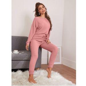 Waffle Knit Casual Pink Loungewear Top